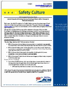 FACT SHEET: Safety Culture - 2013 Impaired Driving Fact Sheet