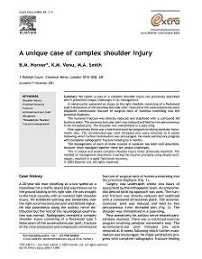 REPORT: A Unique Case of Complex Shoulder Injury, 2004