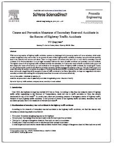 REPORT: Causes and Prevention of Highway Secondary Rear-End Accidents