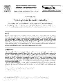 REPORT: Psychological Risk Factors for Road Safety, 2012