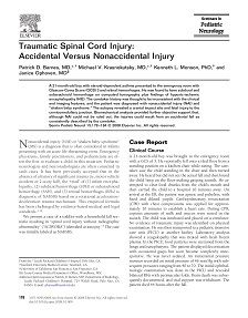 LAST REPORT: Traumatic Spinal Cord Injury: Accidental Versus Nonaccidental