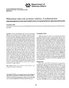 REPORT: Wheelchair Rider Risk in Motor Vehicles: A Technical Note