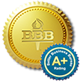 A+ Accredited Better Business Bureau Badge