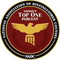 Top 1% National Association of Distinguished Counsel Badge